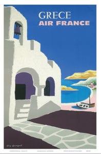 Αφίσα ρετρό διαφήμιση της Ελλάδας και της Air France