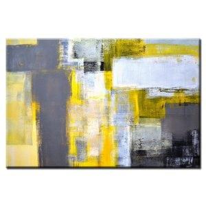 Πίνακας σε καμβά αφηρημένος σε χρωματισμούς Yellow Gray